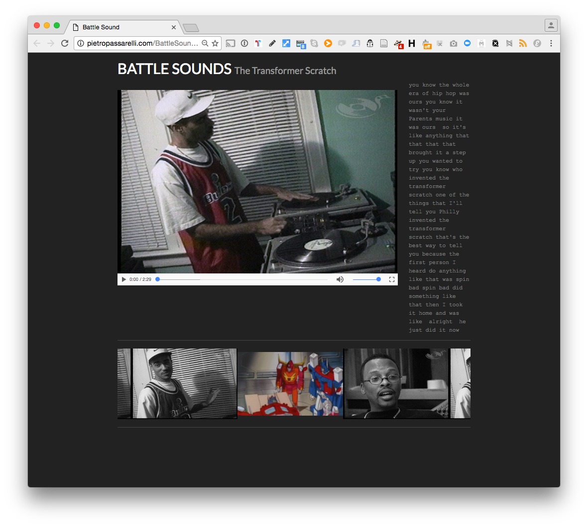 POV Hackaton NYC 24th Sept 2016, Battle Sound team. Interactive Documentary.